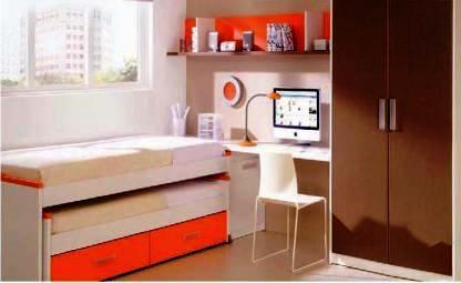 Dormitorio con cama desplazable