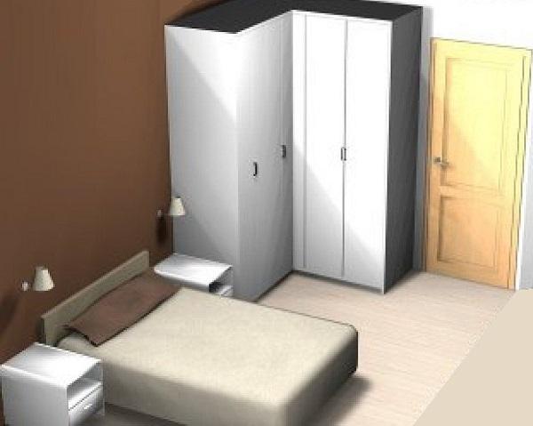 Dormitorio pequeño con armario esquinero