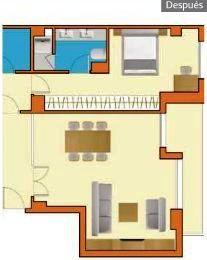 Plano con armario reformado y baño redistribuido (Después)