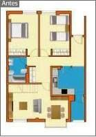 Plano de casa reformada con 4 habitaciones (antes)