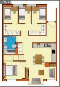 Plano de casa reformada con 4 habitaciones (después)