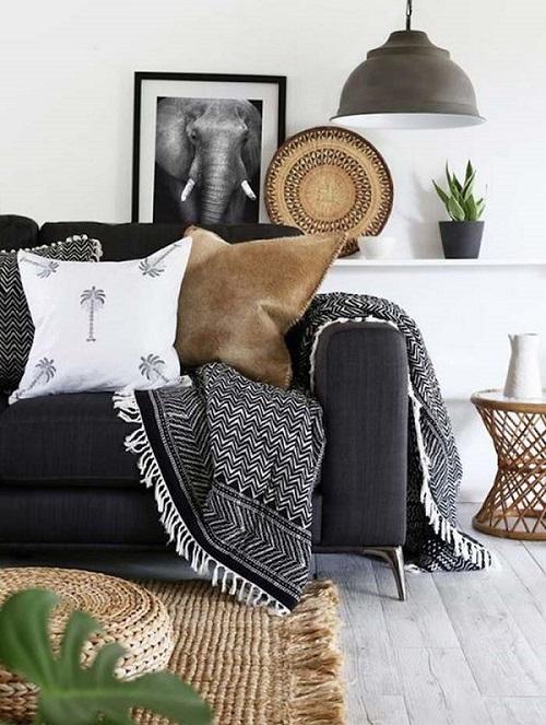 Living con mantas en los sillones